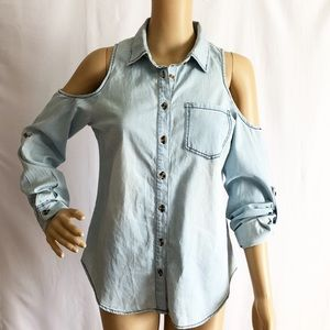 7cbeafffc9c3 Chocolate Tops - shoulder off denim shirt top long sleeve